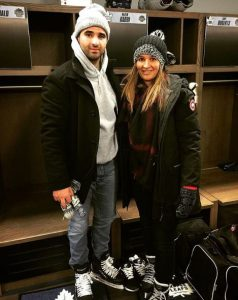 Nazem Kadri with his wife