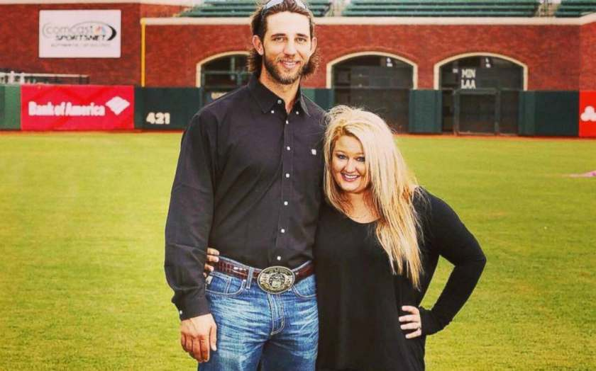 Madison Bumgarner with his wife, Ali Saunders