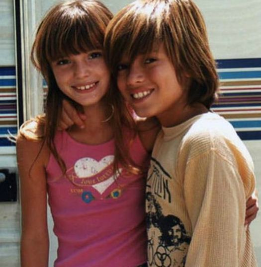 Bella Thorne with her brother, Remy Thorne during her childhood