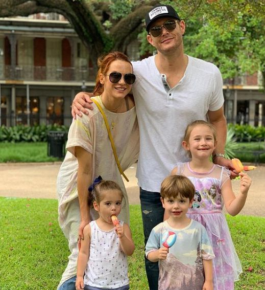 Danneel Ackles with her husband and kids