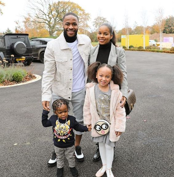 Raheem Sterling with his fiance and kids