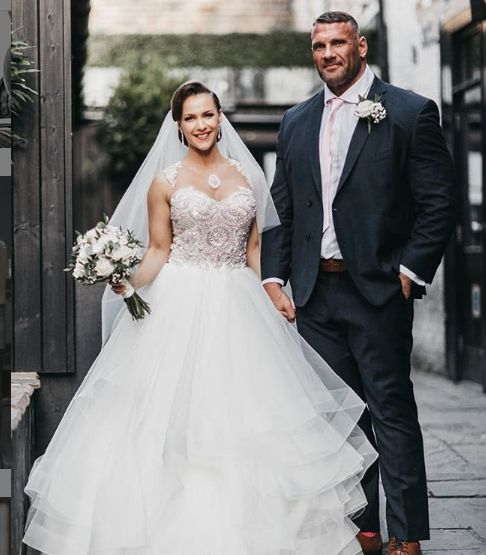Terry Hollands wedding day photo with his wife Kate Errington