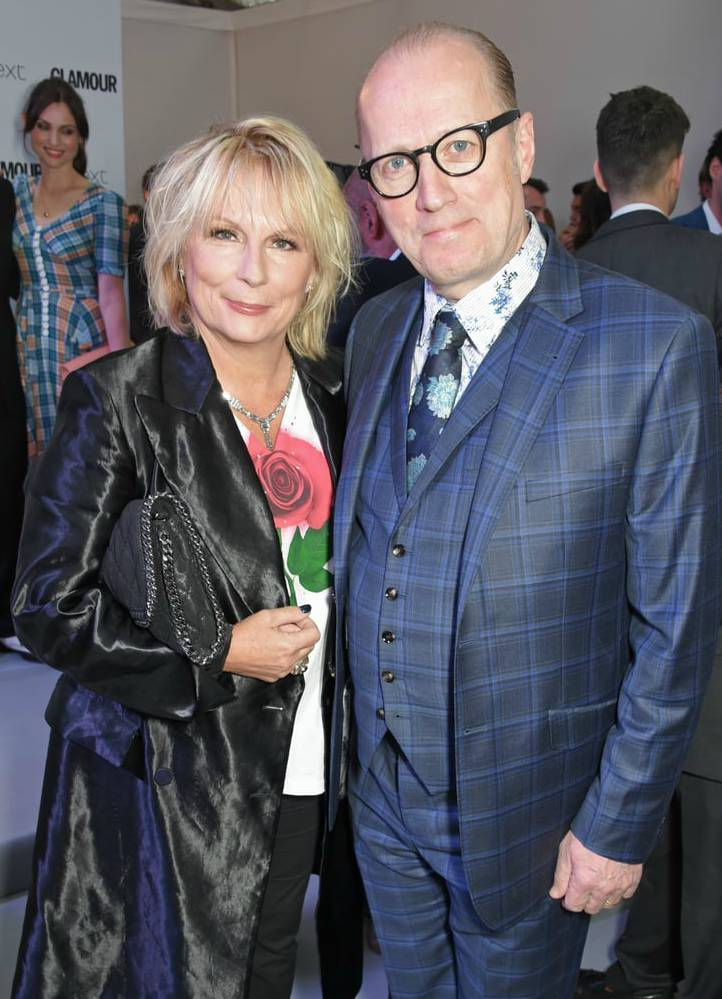 Jennifer Saunders with her husband