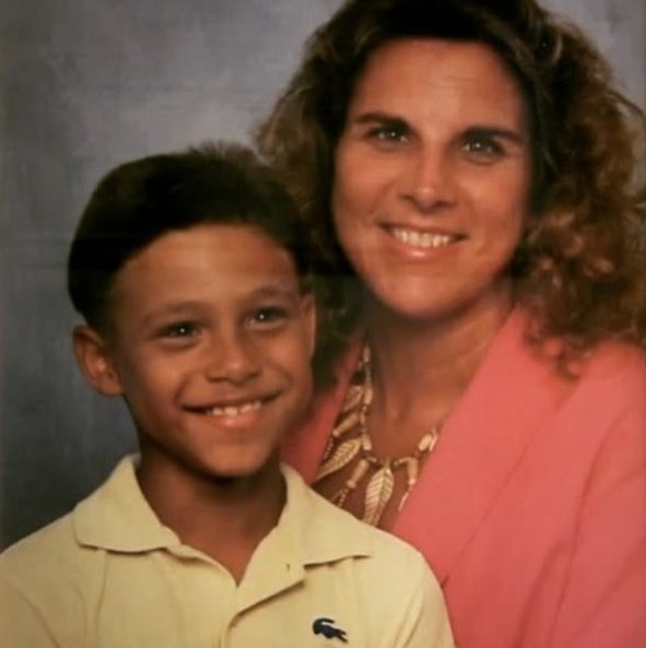 Keith Thurman with his mother in childhood picture