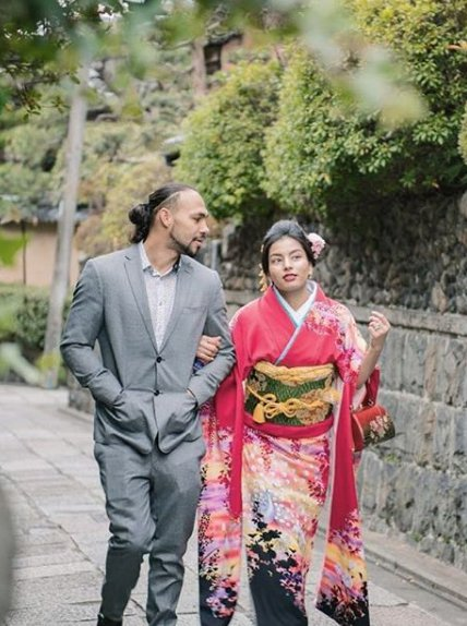 Keith Thurman with his wife Priyana in Japanese Traditional dress