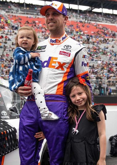 Denny Hamlin with his two beautiful daughters