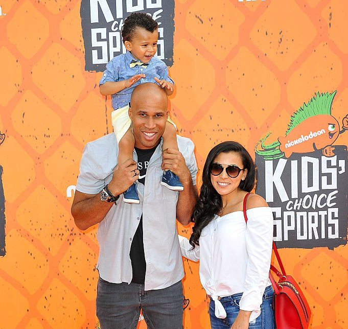 Richard Jefferson with his wife and kid