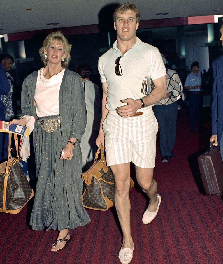 Janet Elway with her ex-husband during their dating days