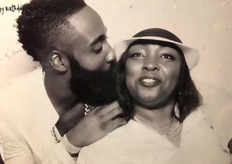 James Harden with his mother, Monja Wills