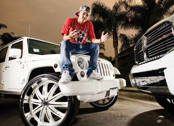 Ryan Sheckler with his jeeps