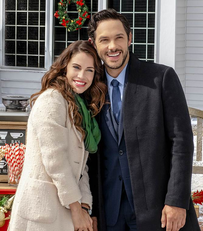Michael Rady acting with her co-star