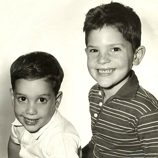 Harvey Weinstein with his sibling brother in their childhood picture