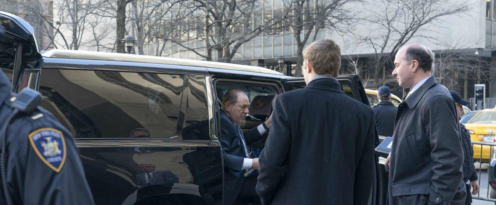 Harvey Weinstein arrives at New York City Supreme Court on February 24, 2020 in New York, United States
