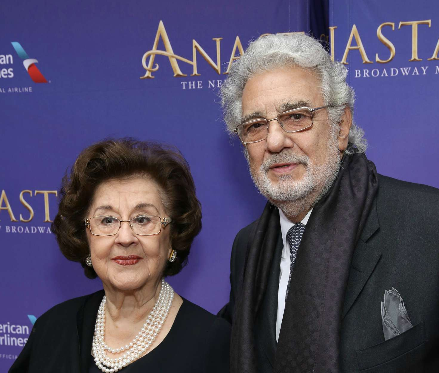 Placido Domingo and wife Marta Domingo attend Broadway Opening Night performance of 'Anastasia' at the Broadhurst Theatre on April 24, 2017 in New York City