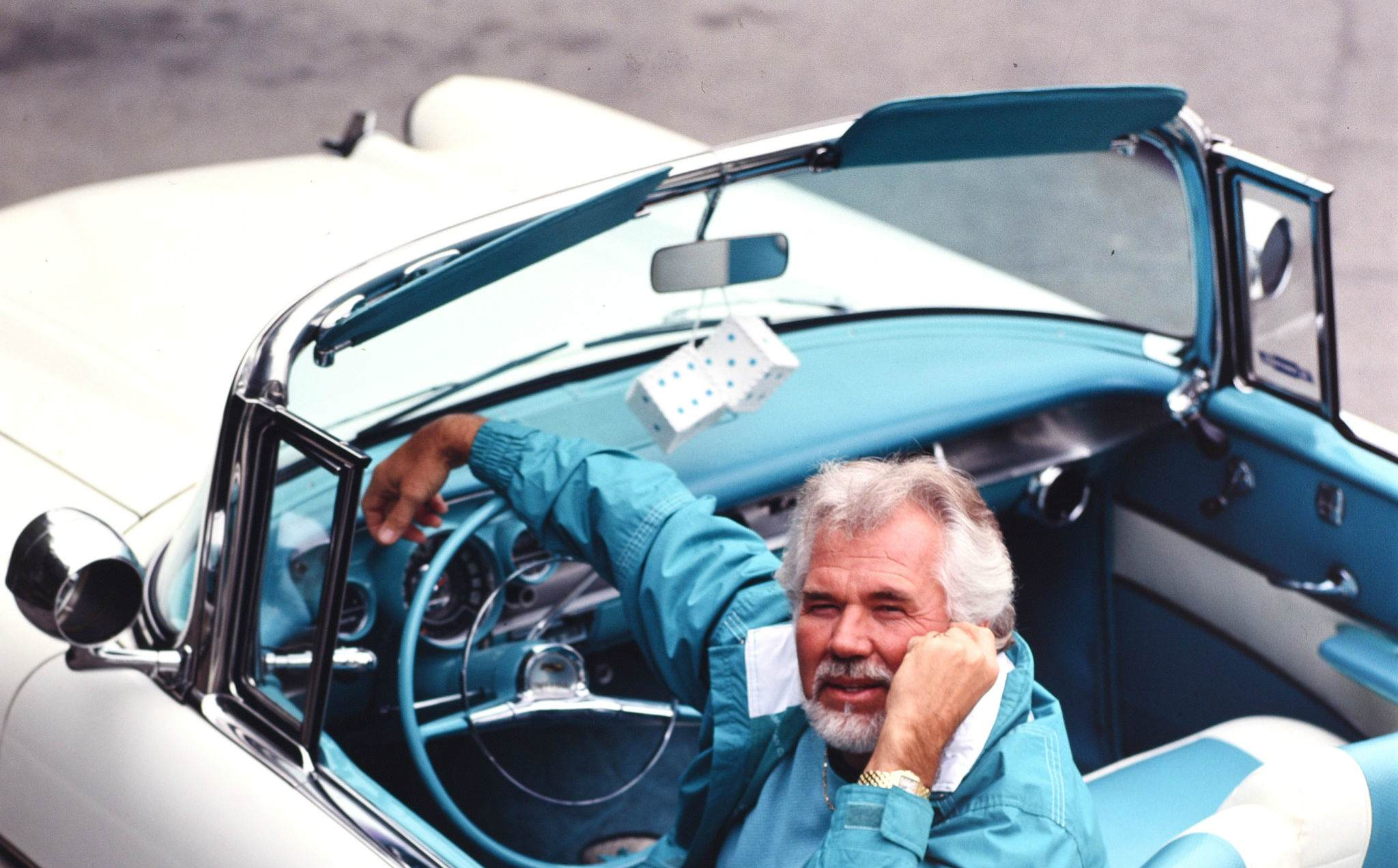 Kenny Rogers with his 1957 convertible Cadillac January 15, 1990 in Beverly Hills, Los Angeles, California