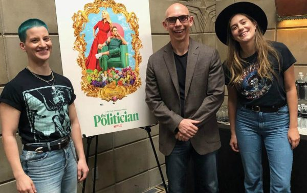 Theo Germaine, Jeff Mitchell, and Laura Dreyfuss in interview of movie 'The Politician'