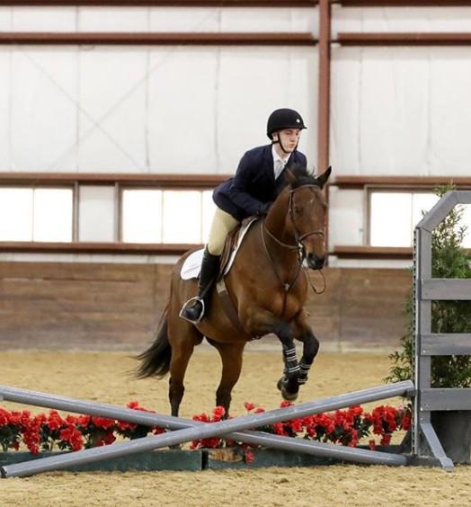 Jordan Mangan riding the horse