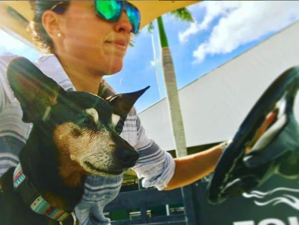 Renee Satterthwaite driving car with her dog