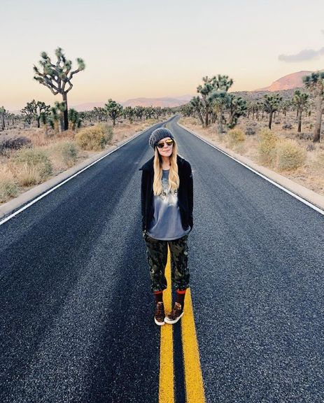 Grace Helbig in the middle of road