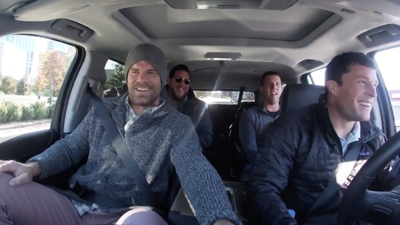 Luke Kuechly driving the car with his friends