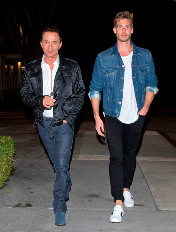 Jason Schanne walking along with his partner Bruno