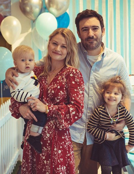 Josh Janowicz with his ex-wife Emilie with her husband and their kids