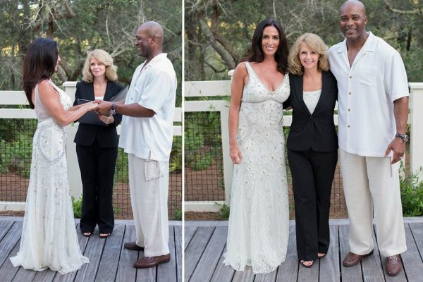 Ron Gant with his wife Leslie Donatelli in their wedding dress
