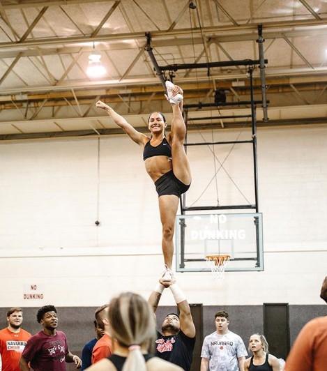 Gabi Butler practicing the stunt