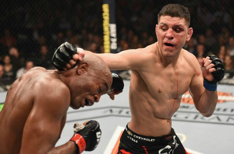 Nick Diaz fighting with his opponent in the ring