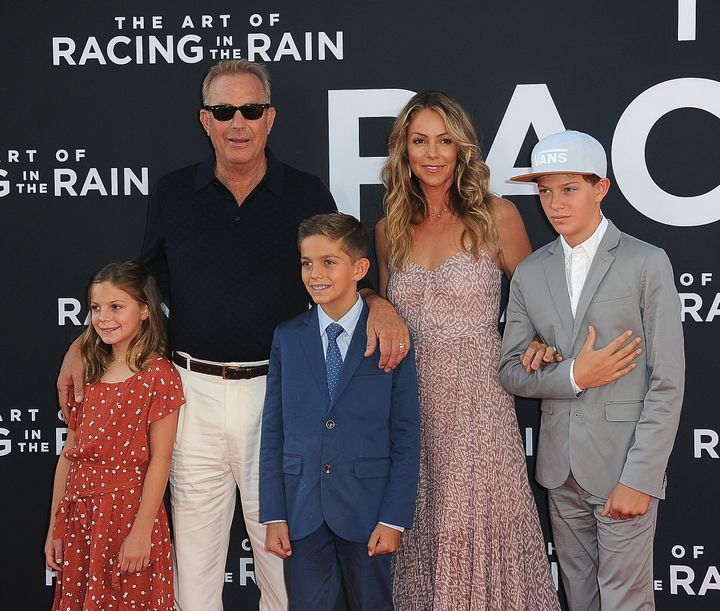 Liam Costner's father Kevin with his wife and his siblings