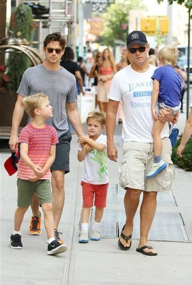 Simon Halls with his partner Bomer and their kids
