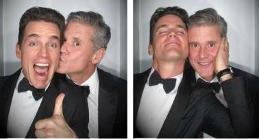 Simon Halls kissing his partner Bomer