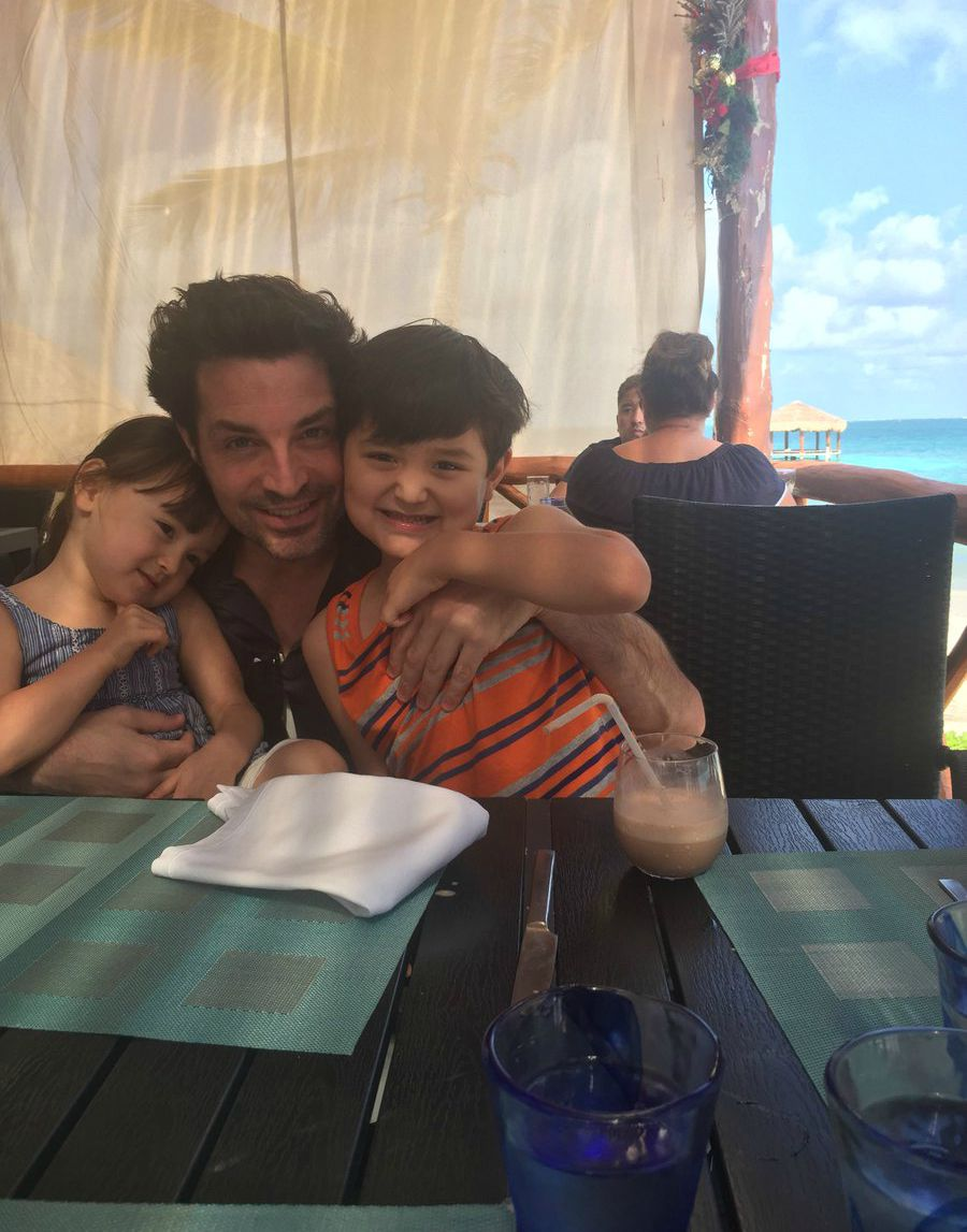 Brennan Elliott with his son and daughter