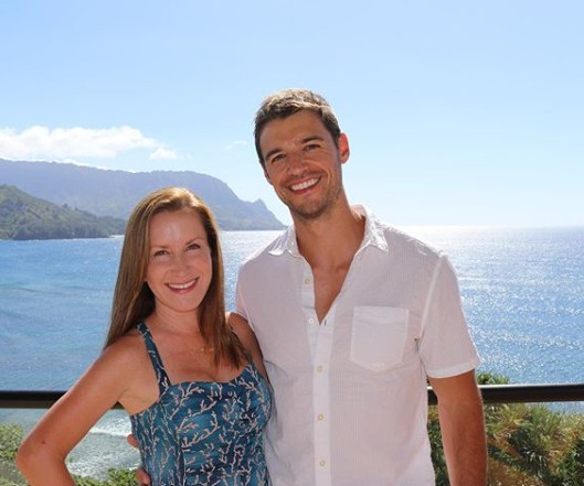 Joshua Snyder with his wife Angela Kinsey