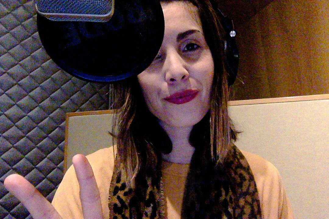 Carly Pope working in a studio