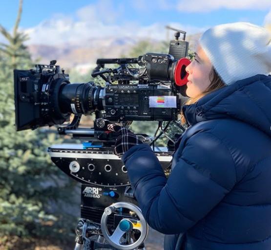 Marla Sokoloff using camera used for shooting movies