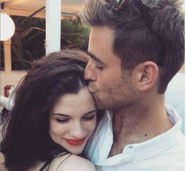 Oliver Jackson-Cohen kissing his girlfriend Jessica De Gouw