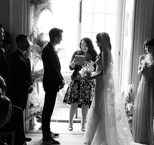 Rebecca-Jo Dunham exchanging wedding vows with her Husband Jay