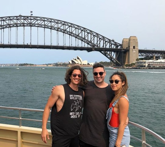 Chai Hansen with his friends travelling