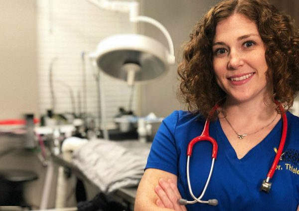 Dr. Lauren Thielen clicking picture inside the lab
