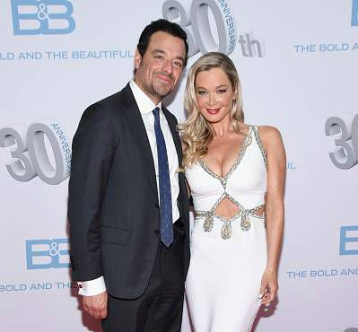 Bobby Ghassemieh with his wife Jennifer Gareis attend the CBS's 'The Bold And The Beautiful' 30th Anniversary Party at Clifton's Cafeteria on March 18, 2017, in Los Angeles, California.