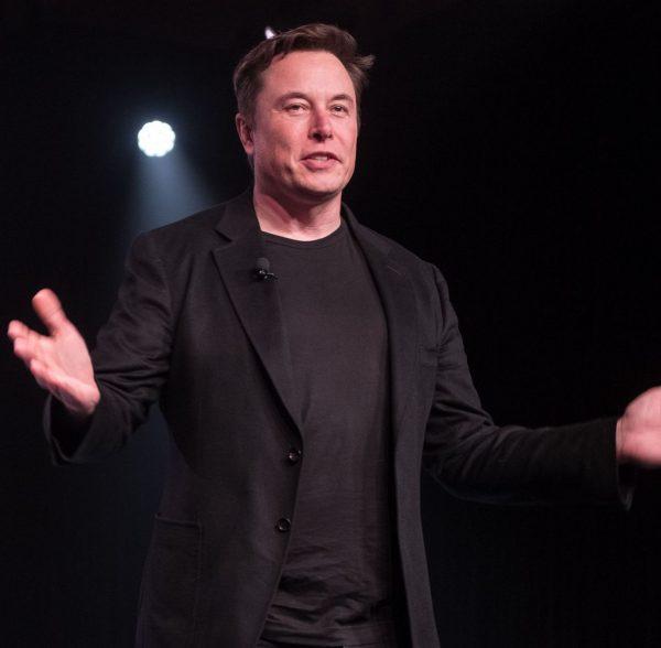 Elon Musk giving the presentation