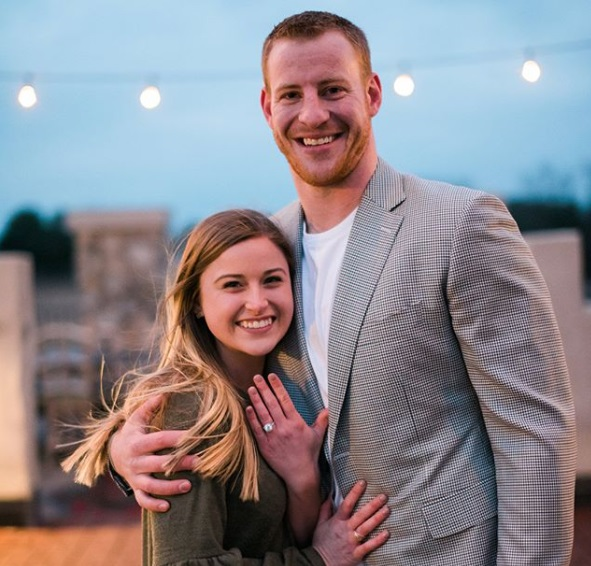 Madison Oberg with her husband Carson Wentz